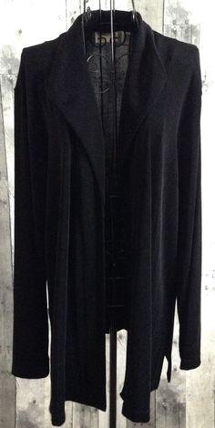 Chicos Travelers Black Jacket Cardigan Top Long Sleeves Stretch Size 3/XL 16 #Chicos #JacketCardigan