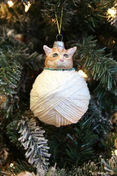 paper-mache xmas cat ornament