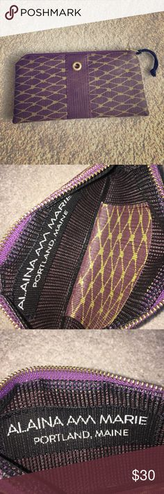 Alaina Marie Bait Bag Wallet Purple and Gold Only been used once! Beautiful purple and gold wallet by Alaina Marie! Perfect for any occasion especially fall season! Inspired by a lobstermans Bait Bag and is machine wash gentle! 🚫NO TRADES OR LOWBALL OFFERS🚫 Alaina Marie Bags Wallets