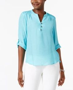 Ny Collection Petite Crochet-Trim Henley Top - Blue P/