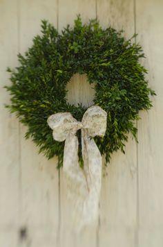 FRESH 14-16 Inch Boxwood Wreath. $24.95, via Etsy.