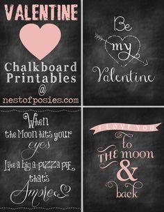 Free Valentine's Day Chalkboard Printables via Nest of Posies