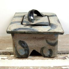 Hand Formed One of a Kind Square Trinket Box of Hand Painted Stoneware Clay, Recessed Base and Patterning Painted on All Exterior Surfaces