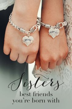 Sister Hearts Do you love you sisters? Sisters share an unspoken bond throughout life. now has matching sister bracelets for everyone in the family. Big Sis, Middle Sis, Little Sis, Baby sis and don't forget mom. Love My Sister, To My Daughter, Big Sis, Daughters, Navy Sister, Sisters By Heart, Little Sisters, Sister Bracelet, Sister Jewelry