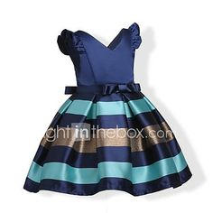 Girl's Birthday Casual/Daily Holiday Solid Striped Dress,Cotton Fall All Seasons Short Sleeve 2017 - Rs1148