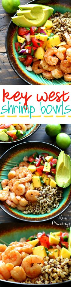Key West Shrimp Bowls with Mango Salsa are exploding with fresh zesty flavors. A quick and easy meal that'll have you dreaming you're living the island life. | Kim's Cravings