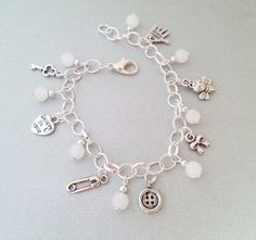Beautiful silver and white snwo quartz charms bracelet pendant heart believe in love hand made unique gift idea for her party jewelry