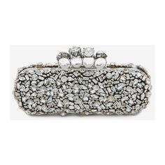 Crystal Skull Four Ring Box Clutch   Alexander McQueen ($4,760) ❤ liked on Polyvore featuring bags, handbags, clutches, white purse, skull box clutch, crystal purse, hard clutch and hardcase clutch