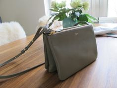 celine gray 1aqx  C茅line trio bag grey