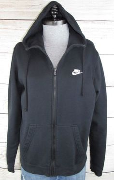92247c77323 NIKE mens Jacket M Medium BLACK Fleece Sweatshirt Zip Hoodie Hooded Just Do  It  Nike  FleeceJacket