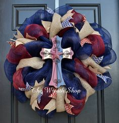 Rustic Patriotic Cross Wreath on Mesh and Burlap - Red White and Blue - 4th of July Wreath on Etsy, $75.00