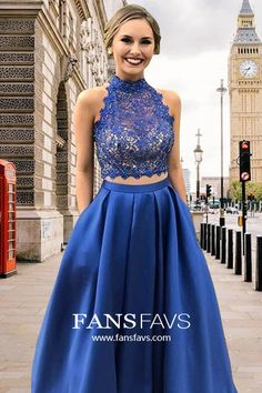 Shop Our Range of Lace Princess Prom Dresses with Pockets. Your Fashion & Style Destination! #FansFavs #prom #promdress #prom2k20 #royalblue #princessdress #dresseswithpockets #twopiece #openback
