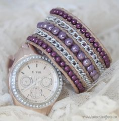 Great website for diy bracelet video tutorials! Easy tutorial on how to make this Plum and Radiant Orchid Wrap Bracelet!
