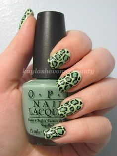 Nails by Kayla Shevonne: Nails of the Day - Spring Green Cheetah