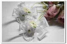 Kids Accessories ハンドメイド 白リボンとお花のヘアゴム(フォーマル) インテリア 雑貨 Handmade ¥500yen 〆05月23日