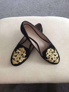 ZARA Velvet Flats - $44