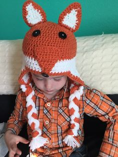 Crocheted fox hat by CraftyDiva23 on Etsy