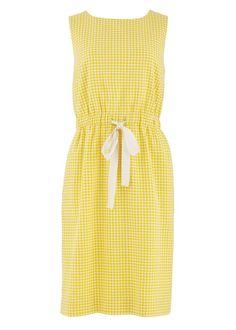 People Tree. Alison Gather Waist Dress in Yellow. SS14. www.peopletree.co.uk
