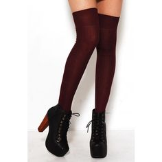 AKIRA Alex Thigh High Socks in Burgandy ($16) ❤ liked on Polyvore featuring intimates, hosiery, socks, accessories, doll parts, shoes, tights/socks, sexy hosiery, over knee socks and doll socks