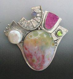 Pin/pendant by Continos Studios ||  Sterling & Fine silver Ocean jasper, drusy,  pearl, iolite, peridot