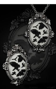 Restyle Gothic Ravens White Cameo Necklace