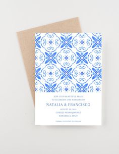 For a Spanish wedding or a marriage of two cultures, this save the date is perfect to set the tone. It can be reworked for a wedding invitation, rehearsal dinner, bridal shower or engagement party. This invitation has watercolor spanish tiles in vibrant shades of blue. Please see
