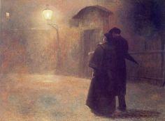 A Couple in the Night - Jakub Schikaneder Czech painter (1855-1924)