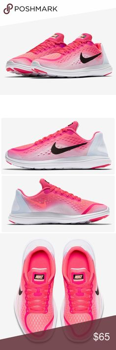 Nike Flex 2017 RN (GS) Youth ✨100% Authentic✨  ✨Color: Racer Pink / Pure Platinum / Lava Glow / Black / White ✨Size: 7 Kids = 9 Woman   -Lightweight mesh provides breathable comfort -Flexible outsole pattern for a natural ride -Dual-density foam sole for lightweight cushioning -Rubber outsole sections at heel and toe for durable traction  NEW with original box no lid ! Thanks for shopping @toowendy ! 😊 Nike Shoes Athletic Shoes