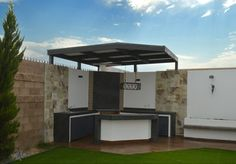 BBQ Area …: Modern-style gardens by Daniel Teyechea, Architecture & Construction rnrnSource by Pergola Swing, Deck With Pergola, Covered Pergola, Backyard Pergola, Pergola Plans, Pergola Ideas, Rustic Pergola, White Pergola, Outdoor Barbeque
