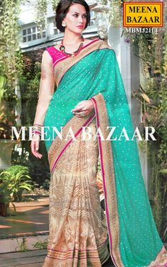 Sea Green & Beige Net Saree Accentuated with Zari and resham thread Border with zircon embroidery, this beige and sea green saree is a perfect drape for festive occasions and party wear to be appreciated by one and all. Lower half of the saree and pleats have a dynamic and dazzling beige colour and exquisite embellished resham thread embroidery with motifs making it all the more vibrant . http://www.meenabazaar.com/sarees/sea-green-and-beige-georgette-saree.html