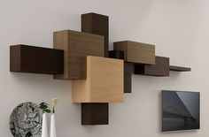 Hall 3 drawers Modern Cubist in Portobellostreet. Shelving Design, Bookshelf Design, Wall Design, Tv Unit Furniture, Living Room Furniture, Media Furniture, Muebles Rack Tv, Carved Wood Wall Art, Dressing Table Design