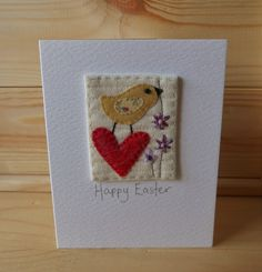 Hand Sewn Card by Lindsey Brandish on Etsy Hand Made Greeting Cards, Making Greeting Cards, Greeting Cards Handmade, Fabric Cards, Fabric Postcards, Sewing Cards, Scrap Material, Fabric Journals, Sympathy Cards