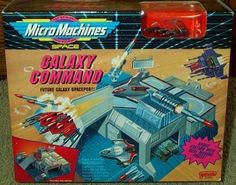 Galaxy Command Spaceport Micro Machines Playset by Galoob Micromachines. $19.99. Micro Machines Galaxy Command Playset!. Includes One Z-12 Nucleo Responder Vehicle!  The Original Scale Miniatures!  Approximate Size of Unopened Box is 9 x 7.5 x 3 inches!. Space Station with Real Moving Parts!. Includes Rotating Gun Stations, Swing-Open Door, Real Firing Missile, Underground Hangar and Sliding Door!. Future Galaxy Spaceport!  Rare Collectible Set from 1993 for Micro...