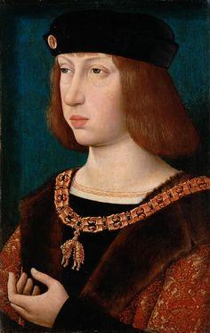 Netherlandish Master of the Legend of Mary Magdalene (fl. 1480-1537) — Portrait of Philip I  Castile, c.1500  : The Kunsthistorisches Museum, Vienna. Austria (485×768)