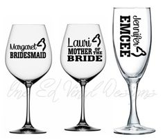 Wedding Party Titles with Names Buck or Doe for DIY Glasses - . Vinyl Decal For Champagne, Wine, Beer Mug, . Glass Not Included Diy Glasses, Vinyl Decals, Wine Glass, Champagne, Beer, Names, Mugs, Party, Shop