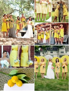 yellow with maid of honor different-love but everyone is gray with yellow flowers and maid of honor is yellow!