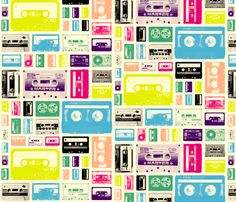 Mix Tapes (80s) fabric by pennycandy on Spoonflower - custom fabric.  This will go on a throw pillow in my future guest bedroom/mom cave.