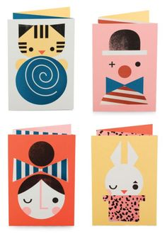 Z-Fold Greeting Cards by Darling Clementine Retro Illustration, Character Illustration, Stationery Printing, Pantomime, Cute Characters, Grafik Design, Illustrations And Posters, Paper Cards, Cool Cards