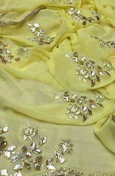 Shop more handloom Gota Patti Saree at Luxurionworld. Saree Blouse Patterns, Saree Blouse Designs, Blouse Styles, Sheer Fabrics, White Fabrics, Pakistani Wedding Outfits, Pakistani Dresses, Wedding Dresses, Shiffon Saree
