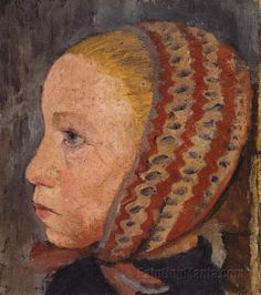 The Athenaeum - Head of a Girl with Striped Hat (Paula Modersohn-Becker - ) Paula Modersohn Becker, Max Beckmann, Ludwig Meidner, Female Painters, Museum, Sculpture, Artist Art, Art Google, Dresden