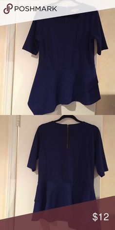 Navy cotton spandex top Scoop neck with dropped waist and sharkbite hem. Exposed back zipper One A Tops Blouses