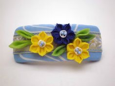 Hair Barrette FRENCH BARRETTE Yellow Blue Daffodils by JagataraArt
