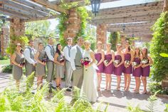 men and women on groom's side- girls wearing grey dresses and guys in grey vests/pants
