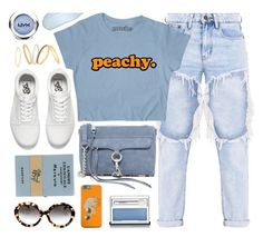 """Peachy/Blue"" by monmondefou ❤ liked on Polyvore featuring Rebecca Minkoff, Olympia Le-Tan, Vans, Prada, NYX, Clinique, Madewell, peach and Blue"