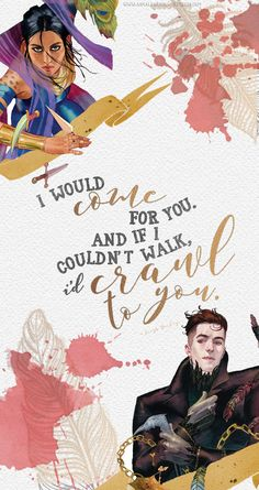 Inej and Kaz || The characters and quotes belong to Leigh Bardugo. The art is not mine– it belongs to Kevin Wada, and I have used his work for a commercial-free purpose.