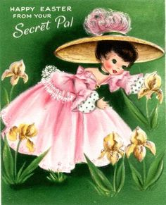 Pretty Southern Belle in Pink Vintage Card