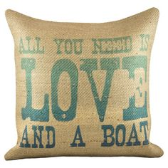 Handmade in the USA, this burlap pillow brings charming style to your decor with a coastal-inspired typographic motif.   Product: