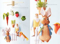 I am pinning this now because i wish i had found this a year ago for Grants nursery!  Absolutely stunning!         Peter Rabbit Mobile No2 Story Mobile by A by AContinualLullaby, $139.00
