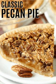 Homemade pecan pie is a classic Southern recipe. An easy pecan filling is poured… Homemade pecan pie is a classic Southern recipe. An easy pecan filling is poured into a classic pie crust and baked to create one of the best holiday desserts. Best Pecan Pie Recipe, Homemade Pecan Pie, Homemade Desserts, Pecan Pie Crust Recipe, Pecan Pie Cobbler, Pecan Bars, Easy Pie Recipes, Pumpkin Pie Recipes, Best Dessert Recipes