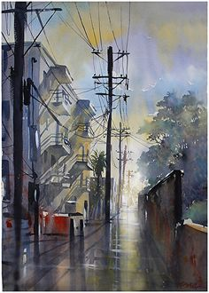 after the rain-venice alley by Thomas W Schaller Watercolor ~ 30 inches x 22 inches